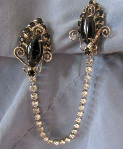 VTG Black Glass Stones & Silver Tone Sweater Dress Scarf Guard Collar Clip (52