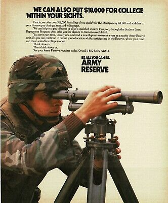 1990 US ARMY RESERVE Recruiting Recruitment soldier surveyor Vintage Print Ad