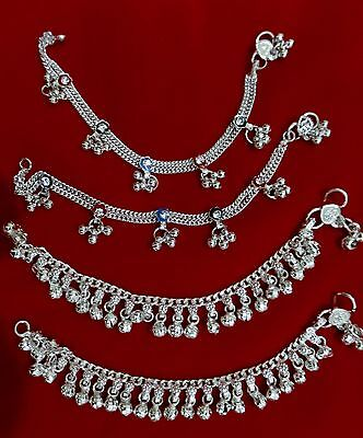 Baby silver tone charm bells lot 4  ankle bracelet India chain gift jewelry 6""