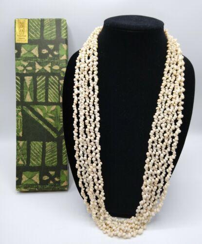 Luxurious 1950s Hawaiian Pikake Shell 6-strand Lei Necklace In Original Box EUC