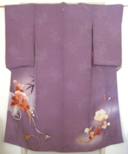 VTG JAPANESE KIMONO~DYED SILK~LILAC/MULTI COLOR FLOWERS~BELT/WALLET~60