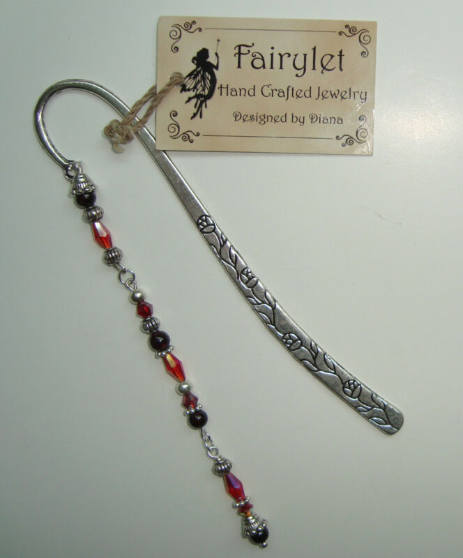 Bookmark Floral Scroll Jeweled Swarovski Crystal & Gem Beaded Bookmark NEW!