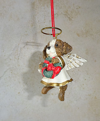 Dog Angel Ornament Figurine Statue Spaniel Brown White King Charles Cocker Sprin