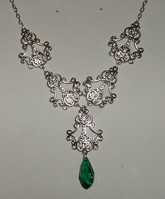 FILIGREE VICTORIAN STYLE SILVER PL FACETED SEA GREEN GLASS BRIOLETTE NECKLACE
