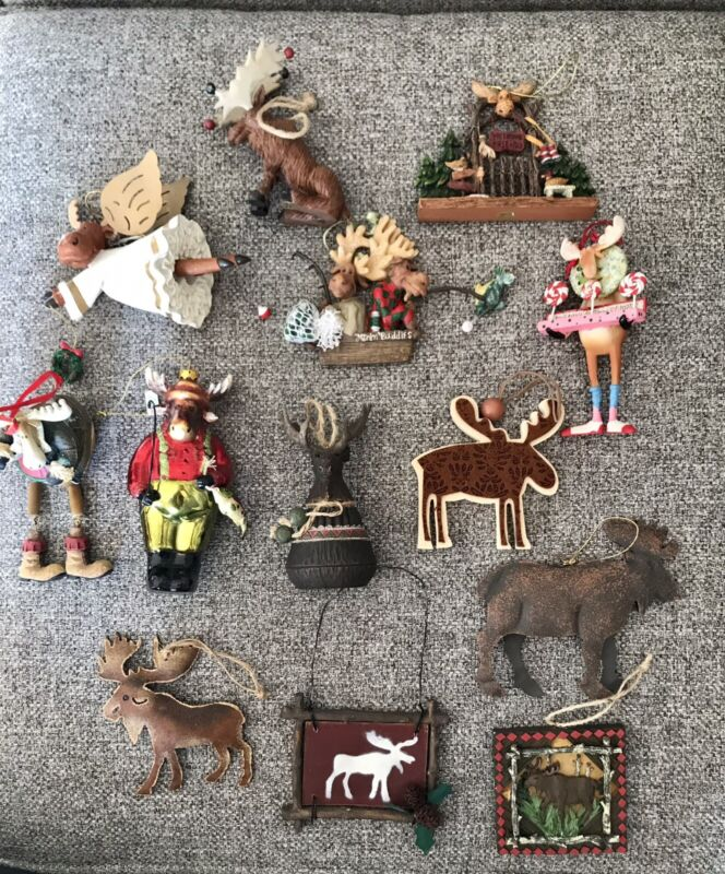 Huge Lot of 13 Moose Christmas Tree Ornaments - Rustic, fishing, and more