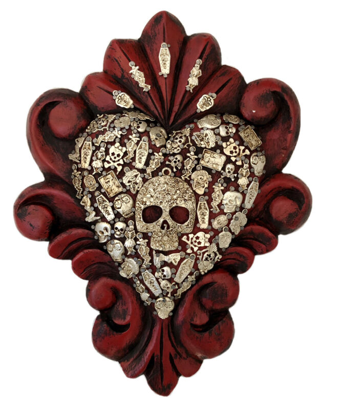 """Red DAY of the DEAD MILAGROS HEART, Sugar Skull ExVotos Corazon LG 12"""""""