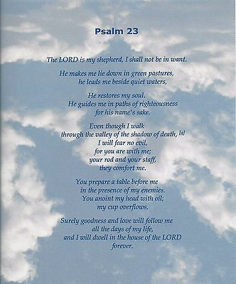 Psalm 23 Verse Inspirational Poem Plaque Print Laminated (can be framed)