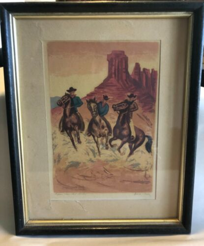 "Vintage Anna Barry Signed Print ""Riders Near Red Rock"