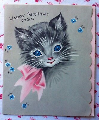 Vintage 1950s Pink & Gray Birthday Greeting Card Cute Kitten in Pink Bow