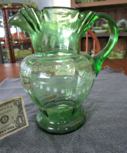ANTIQUE VICTORIAN GREEN PANELED HAND PAINTED LILY OF THE VALLEY FLOWERS PITCHER