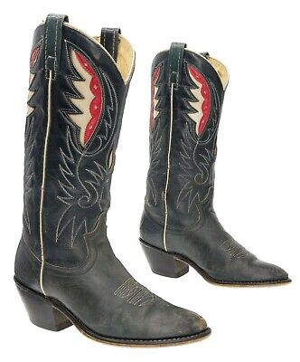 ACME Cowboy Boots 8 M Womens Leather Western Rodeo Boots Cutouts Inlayed Boots