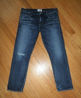 AGOLDE A GOLD E Boyfriend Fit Cropped Straight Leg Stretch Distressed Jeans 27