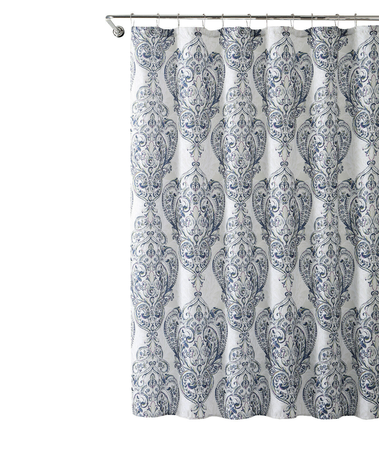Details About Vcny Home Navy Purple Damask Fabric Shower Curtain With 12 Metal Hooks