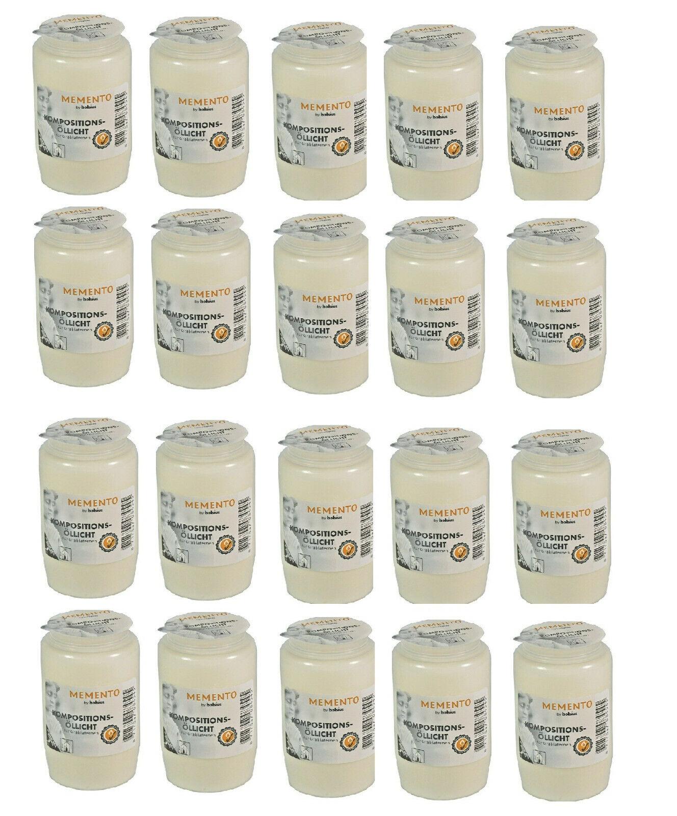 20 x Grablicht Öllicht Grabkerze Nr.3 weiß Orginale Bolsius mit Brenngarantie !!