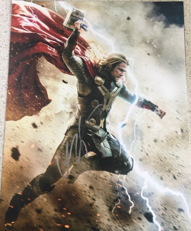 CHRIS HEMSWORTH SIGNED FULL NAME AUTOGRAPH THOR AVENGERS ENDGAME 11x14 PHOTO B