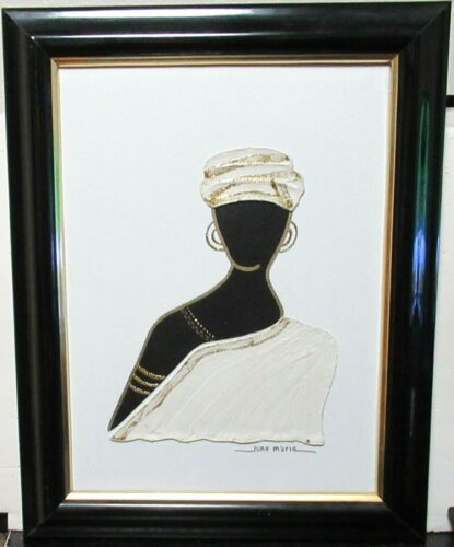 JUNE MARIE ORIGINAL OIL ON CANVAS AFRICAN WOMAN WITH HAT PAINTING