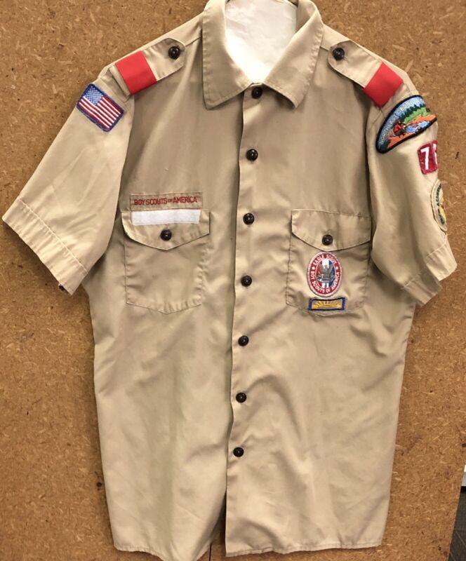 Vintage Boy Scouts EAGLE Scout Patch Others on Original Uniform Shirt Size Med.
