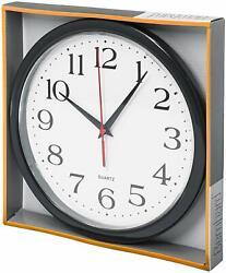 Bernhard Products  Black Wall Clock Silent Non Ticking  10 Inch  Quality Quartz.