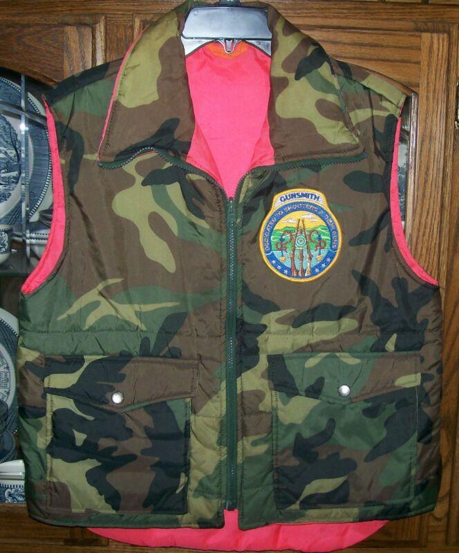 GUNSMITH Reversable Vest Camo Orange Insulated sz Small Hunting Shooter Gunshop