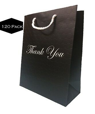 Paper Bags Wholesale (Black Gift Bags with handles Bulk Large Premium Paper Thank You 10x13[120 bags])