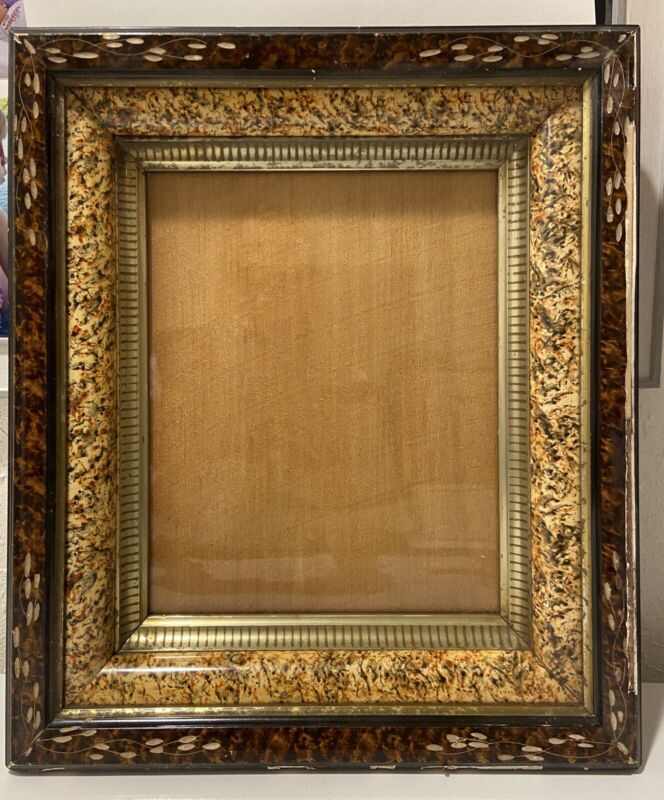"ANTIQUE~ DEEP WELL ~VICTORIAN PICTURE FRAME~ 12""x14""~ FEAUX TORTOISE"