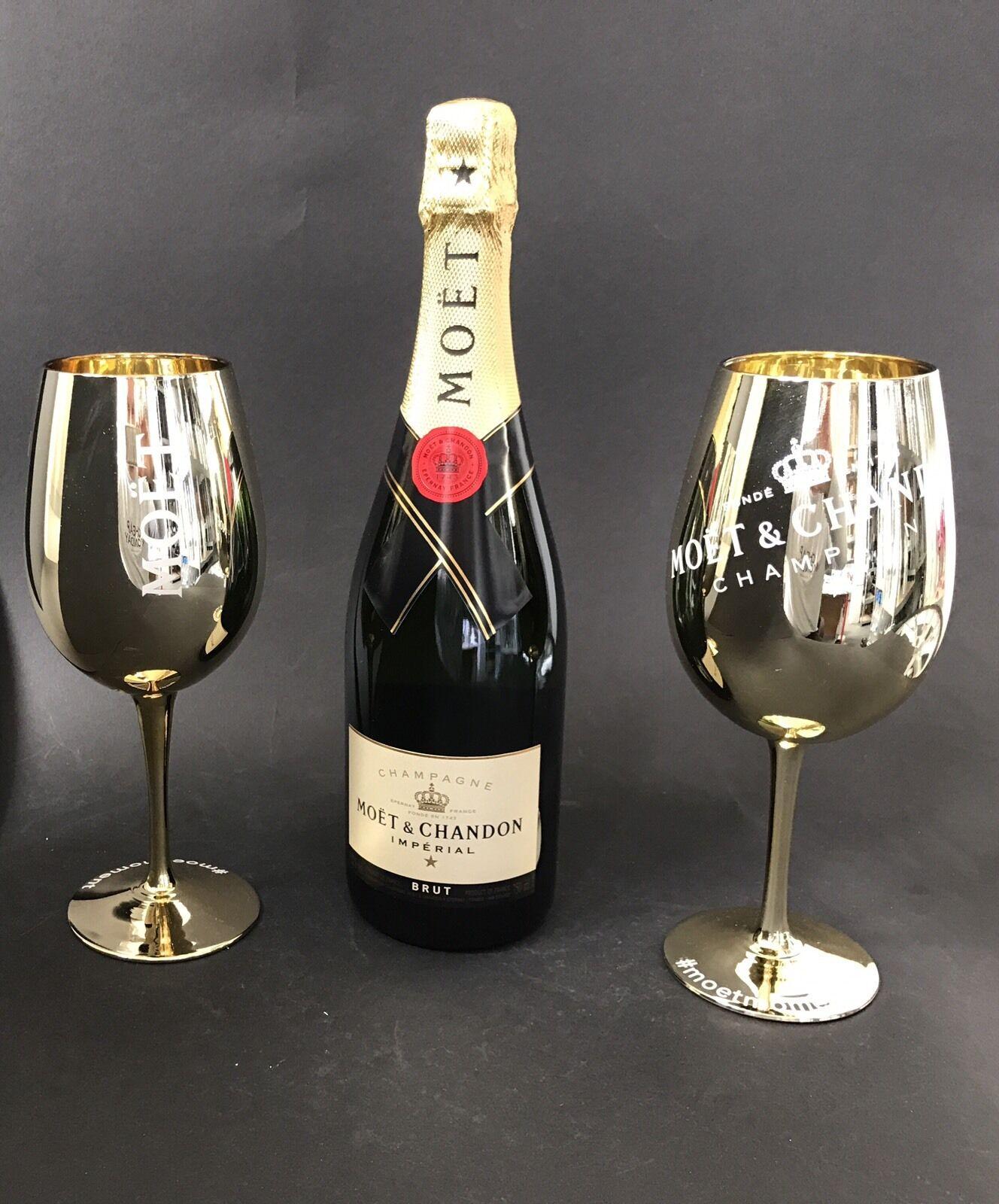 moet chandon imp rial champagner 0 75l flasche 12 vol 2 gold glas gl ser chf. Black Bedroom Furniture Sets. Home Design Ideas
