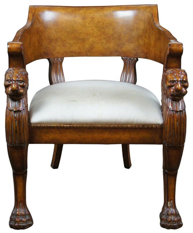 Egyptian Revival Neoclassical Club Library Tub Arm Chair Lion Head Sphinx
