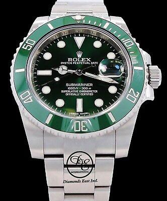 Rolex Submariner GREEN HULK 116610LV Stainless Steel Ceramic Bezel Watch *MINT*