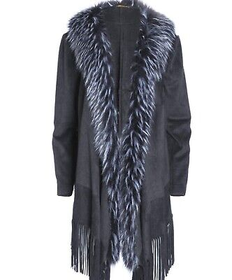 JACKET BY JAYLEY FAUX FUR AND SUEDE FREE SIZE (UP TO UK 18)