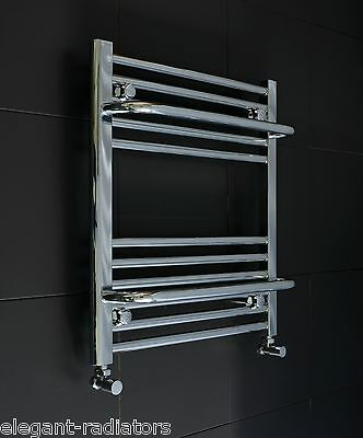 550 mm Wide 600  mm High Flat Chrome Heated Towel Rail Radiator Central Heating