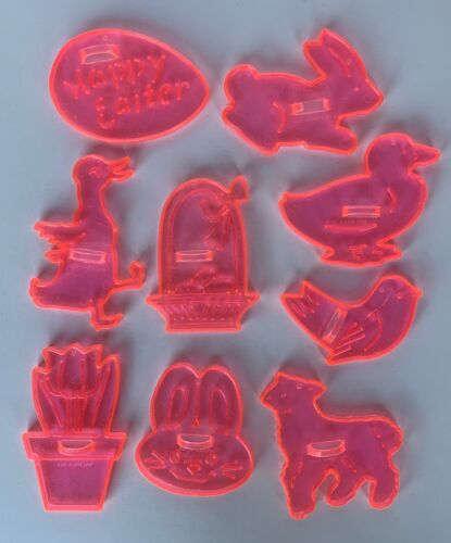 Lot of 9 Vintage Clear Pink Cookie Cutters - Hong Kong - Spring, Easter