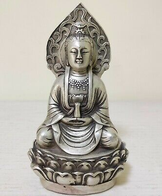 guanyin Collectible Vintage Old Handwork Tibet Silver Carve Kwan-yin Statue
