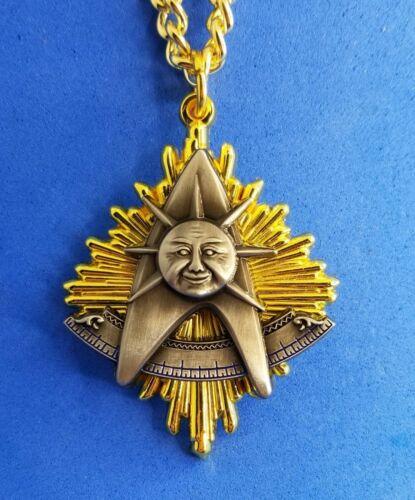 PAST MASTER JEWEL MEDAL MASONIC NGM w QUAD GOLD & ANTIQUE SILVER (PMJ-BGQ-CHN)
