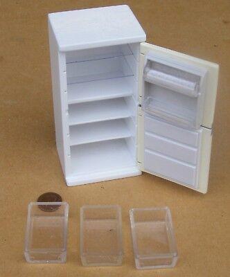 1:12 Maßstab Leerer Weiß Holz Kühlschrank Gefrierschrank Tumdee Puppenhaus ()