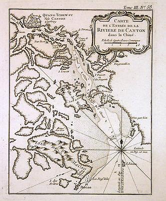 1764 Bellin Map of Canton River w/ Guangzhou and Early Hong Kong - ORIGINAL
