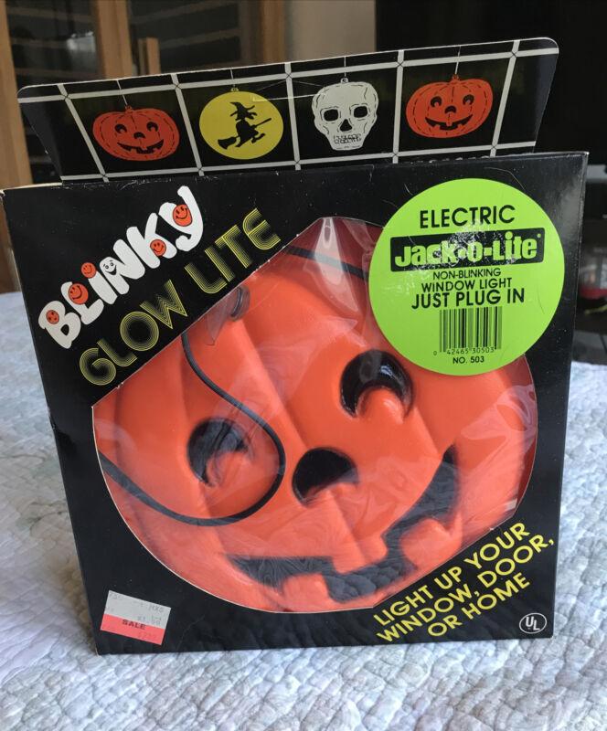 Vintage BLINKY Glow Lite Pumpkin Jack-O-Lantern Blow Mold Light-up Hanging w/Box