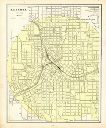 1888 Antique ATLANTA GEORGIA Street Map Vintage City Map of Atlanta 8068