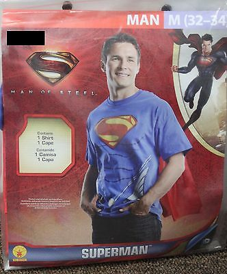 SUPERMAN COSTUME SHIRT & CAPE Medium 32-34 Superhero DC Comics Easy Teens - Easy Super Hero Costumes