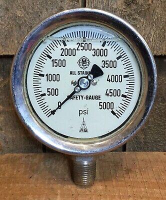 Vintage W Germany Mcdaniel 5000 Psi Pressure Gauge Industrial Steam Punk 4