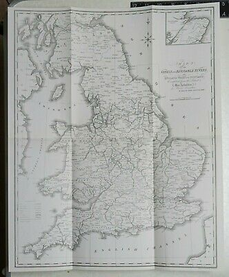 1824 Map of the Canals and Navigable Rivers in England etc. - Reproduction 1969