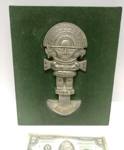 Vintage solid sterling silver 925 CAMUSSO PERU INCA figure on plaque for wall