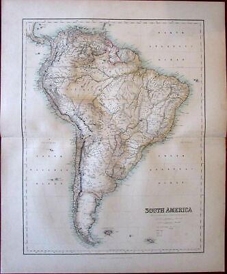 South America Fullarton c. 1855 large folio sheet map color lithographed