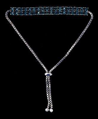 Diamond Treasures Blue Diamond Double Row Adjustable Bracelet ()