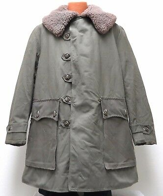 vtg SWEDISH M1909 Canvas Military Coat M/L 40s/50s Mats Larsson Shearling Sheep