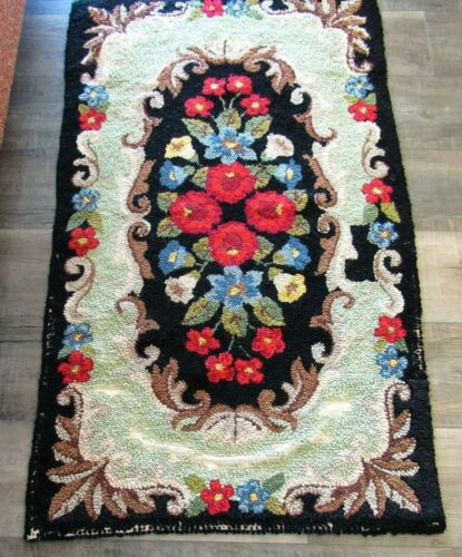 """Vintage Hand Hooked Wool Rug Art Deco Floral Motif 46"""" x 23"""" Shabbily Chic"""