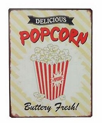 Retro Blechschild DELICIOUS POPCORN Buttery fresh Nostalgie Schild Deko Essen