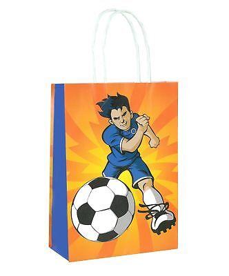 6 Fußball Taschen mit Griffen - Luxus Party Behandeln Süßigkeiten Beute