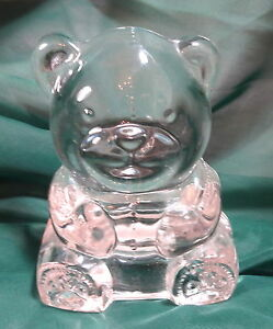 PartyLite-Tea-Light-Candle-Holder-Clear-Glass-Teddy-Bear-Cute