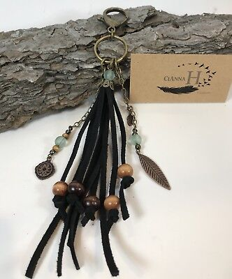 Large Black Suede Leather Tassel Purse Charm Keychain Fob Wood Sea glass Beads (Beaded Keychains)