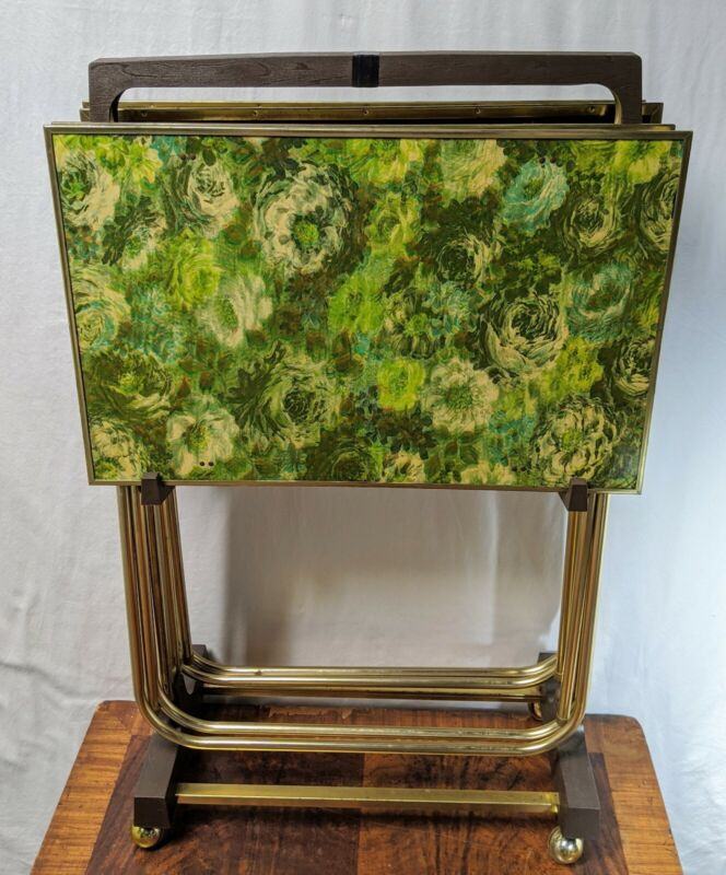 Vintage Mid Century Modern TV Trays & Cart Stand Monet-Like Floral Set Of 4 MCM